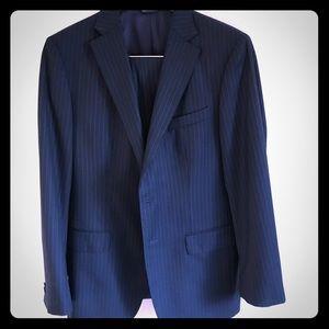 Navy Blue Banana Republic Suit.  Light Stripes.